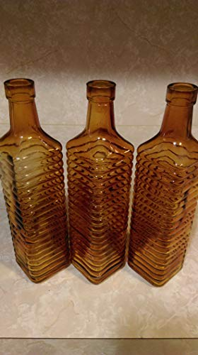 Colored Bottle Set Sun Catchers 3 Bottle Set Amber Colored Glass 10 Tall ()