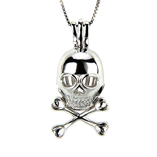 (LGSY 925 Sterling Silver Skull Cage Pendant for Pearl Jewelry, Skull Necklace for Women and Men)