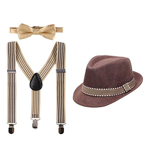 (Kid Y-Back Adjustable Brace Suspender Pre-Tied Bowtie Short Trim Fedora Hat 3PCS Outfit for Boys/Girls Coffee)