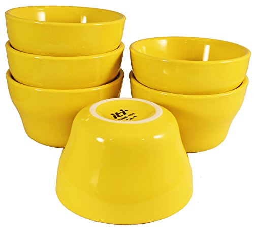 (ITI Ceramic Stackable Bouillon Cups with Pan Scraper, 7 Ounce, 6-Pack (Yellow))