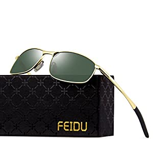 FEIDU Polarized Sport Mens Sunglasses HD Lens Metal Frame Driving Shades FD 9005 (Green /Gold, 2.24)