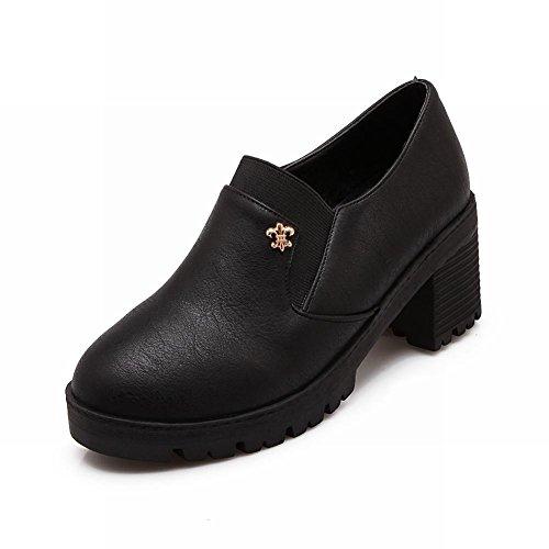 Spectacle Briller La Mode Des Femmes Plate-forme Mi Chunky Talon Chaussures Bungee Noir