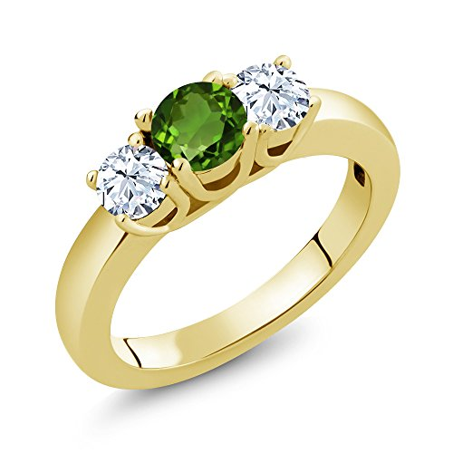 Gem Stone King 1.16 Ct Green Chrome Diopside White Topaz 18K Yellow Gold Plated Silver Ring (Size 8)