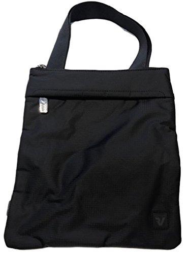 Roncato - Bolso al hombro de cuero sintético para hombre gris antracita negro