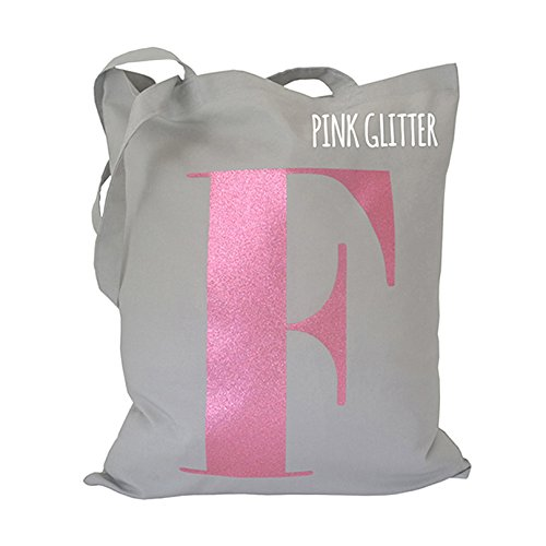 Amazon.com: Glitter Personalised Alphabet Tote Bags, Letter Tote ...