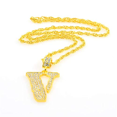 Tide Brand Hip Hop Men's Pendant Fashion Full Diamond V-Shaped Necklace Necklaces Jewelry Affordable Gift for Women Girls Lover Teens Couples Decors Engagement Wedding Anniversary Present