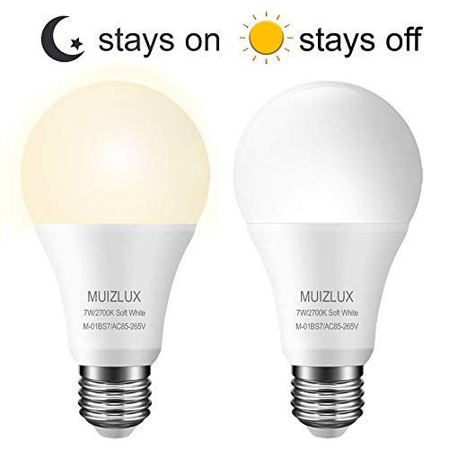 LED Sensor Light Bulbs,MUIZLUX 7W Smart LED Bulbs Dusk to Dawn Auto on/Off,600LM 2700k Warm White Indoor/Outdoor Energy Saving Security Lighting Components for Porch,Hallway,Yard,Trail (2 Pack)