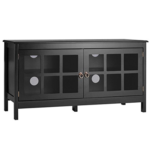 """TV Stand 50"""" with 2 Doors Modern Storage Console Entertainment Center Wood Black by Iramaix"""