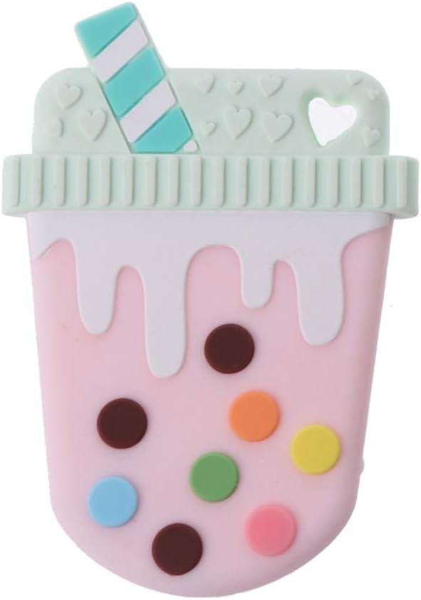 JIACUO Helado Mordedor de Silicona Bebé Mordedor Anillo de dentición Colgante Collar DIY Juguete para Masticar bebé Regalo Infantil