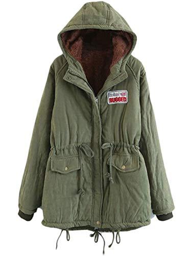 Hooded Lamb Wool Slim Womens Fitted Length Coat Mid Split EKU Green Casual Back Parka 5wEWqXUn0