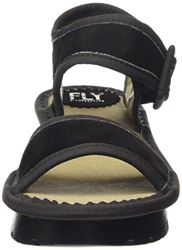 FLY London KISH603FLY - Sandalias con cuña Mujer Black/black