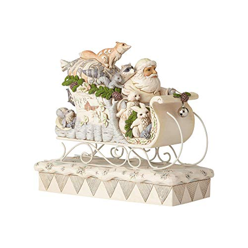 (Enesco Jim Shore Heartwood Creek 6001410 White Woodland Santa in Sleigh, Multicolor)
