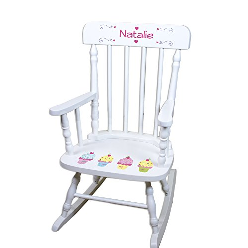 Children's Personalized White Cupcake Rocking Chair by MyBambino