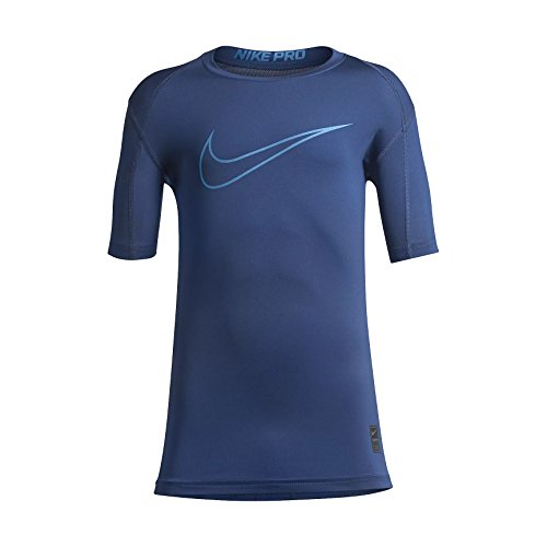 Price comparison product image NIKE Boy's Pro Cool Pro Cool HBR Short Sleeve Fitted Training Top (Large,  Gym Blue (726463-431) / Blue / Black)