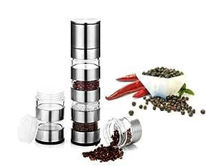 Tmvel TARA 6 Masala Dabba Spice, Salt, Pepper Container Mill with Grinder