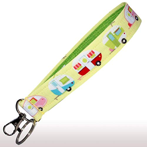 Camper Keychain - Camping Key Fob Strap - Yellow Glamping Trailers - RV Accessories - 1 Inch Wide - 6 Inch Loop - Wallet or Purse Strap