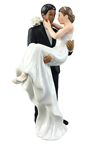 Wedding Collectibles African American Groom Holding Caucasian Bride Interracial Cake Topper (Caucasian Groom)