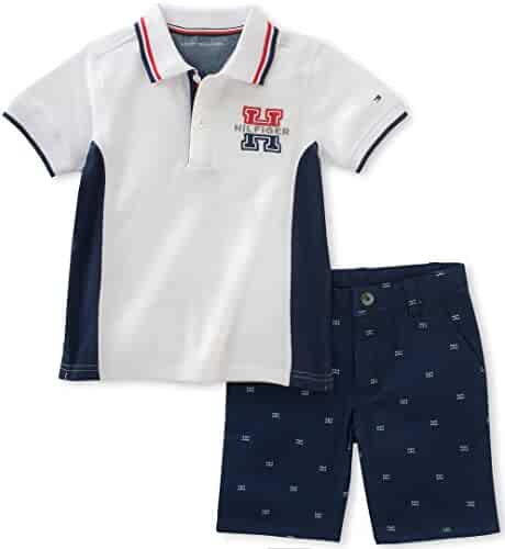 Tommy Hilfiger Baby Boys' 2 Pieces Polo Set-Printed Shorts, White, 3/6M