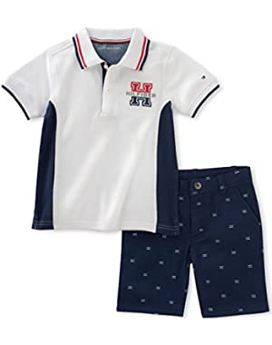 Tommy Hilfiger Baby Boys' 2 Pieces Polo Set-Printed Shorts, White, 18M