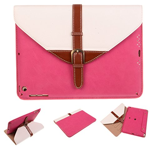 Big Dragonfly Apple Ipad Brief Bag Shape PU Leather Case - 360 Degree Rotating Stand Detachable Dual Use Smart Magnetic Flip Cover Case for Ipad 5/ Ipad Air (Rose Red and White)