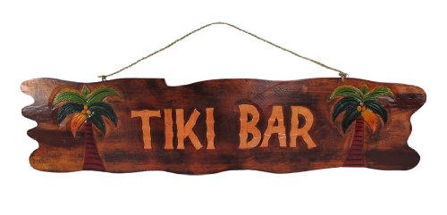 Things2Die4 39 In. Hand Carved `Tiki Bar` Sign with Palm Trees
