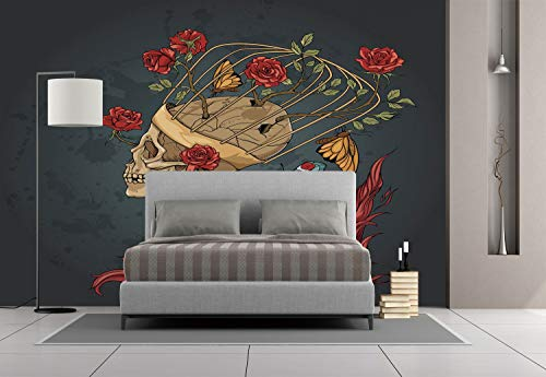 Large Wall Mural Sticker [ Skull,Evil Mexican Sugar Skeleton with Kitsch Bush of Roses Snake and Butterfly Artwork,Ruby Dark Grey ] Self-adhesive Vinyl Wallpaper / Removable Modern Decorating Wall Art -
