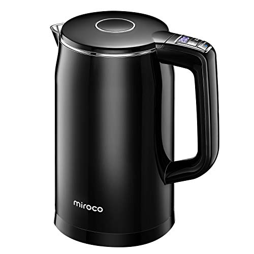 Miroco Electric Kettle Temperature Control 1.7L Double Wall Keep Warm, Anti-scald Tea Kettle 100% Stainless Steel BPA-Free Hot Water Boiler, Auto Shut-Off, Boil-Dry Protection, 1500W Fast Boiling-120V