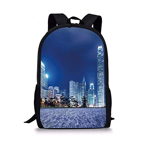 - School Bags Urban,Hong Kong Skyline Night Architectural Cityscape Skyscrapers Modern Photo,Royal Blue Purplegrey for Boys&Girls Mens Sport Daypack