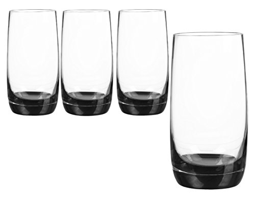 Qualia Glass Q131011 Highball Glass, Clear/Black
