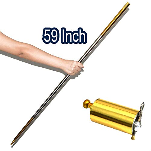 "OUERMAMA Metal Appearing Cane Magic Pocket Staff for Professional Magician Stage Close-up Magic Trick Magic Accessories (Golden Silver, 59"")"