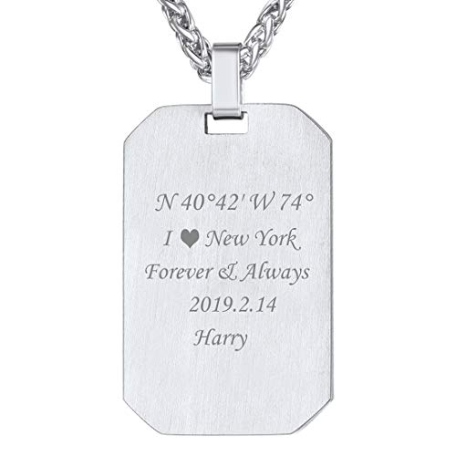 U7 Unique ID Tags Necklace for Men Stainless Steel Wire Drawing Personalized Engraved Dog Tags Pendant Necklace, 22