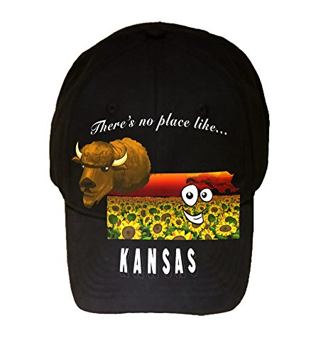 100% Black Cotton Adjustable Hat - There's No Place Like Kansas ()