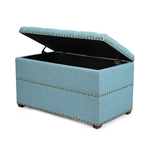ELEGAN Stylish Button Tufted Lift Top Storage Ottoman Bench Foot Rest Seat with Solid Wood Legs Blue
