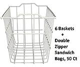 40604, Deep Storage Basket, White (Extra Deep (6-pack) + Freebie)