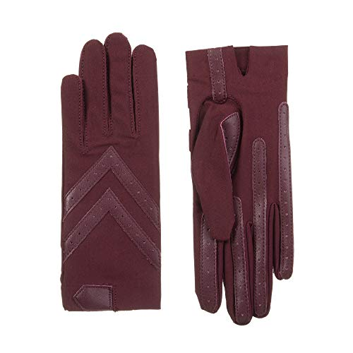 (Isotoner Women's Spandex Shortie Gloves with Leather Palm Strips, smartDRI Henna, L/X-Large )