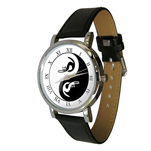 esign Fashion Watch. The Perfect Cat Lovers Gift. Genuine Leather Strap ()