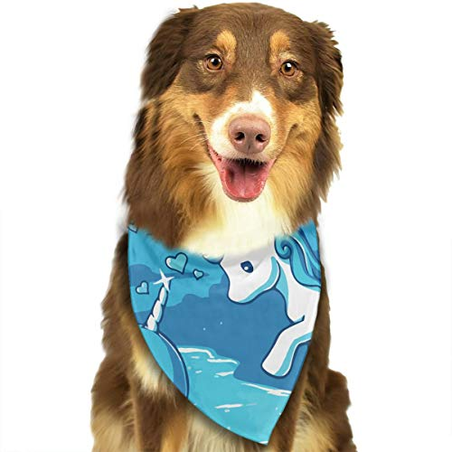 OURFASHION Narwal Date with Unicorn Bandana Triangle Bibs Scarfs Accessories for Pet Cats and Puppies.Size is About 27.6x11.8 Inches (70x30cm). -