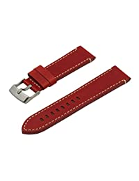 SWISS REIMAGINED Red Hypoallergenic Tanned Calfskin Leather Watch Band with Titanium Buckle - 24mm