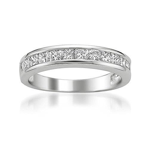 Platinum Princess-cut Diamond Bridal Wedding Band Ring (1 cttw, G-H, (Platinum Diamond Wedding Anniversary Ring)