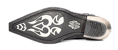 New Rock Mens Chelsea Boots Stile Retrò Cinturino In Pelle Stampa Serpente Nero Su Stivaletti