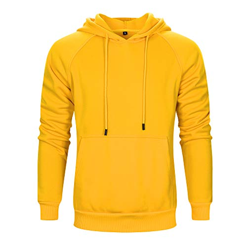 (TOLOER Men's Hoodies Pullover Casual Solid Color Sports Outwear Sweatshirts Yellow Medium)