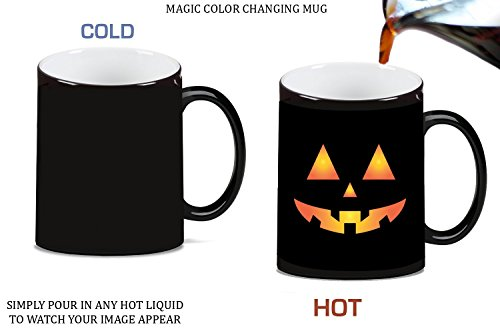 Scary Spooky Halloween Pumpkin Face Magic Color Changing Ceramic Coffee Mug Tea Cup by Moonlight Printing