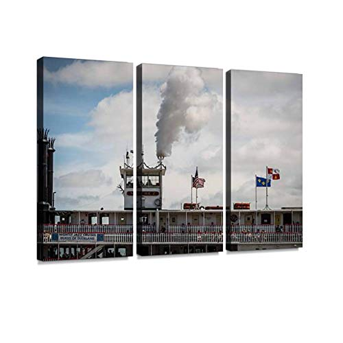 Steamer Print On Canvas Wall Artwork Modern Photography Home Decor Unique Pattern Stretched and Framed 3 Piece