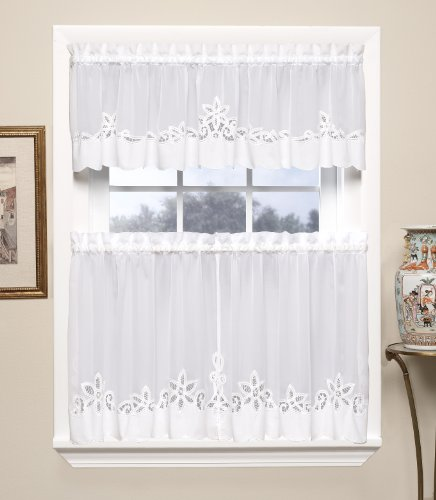 Today's Curtain Plymouth Classic Battenburg Applique Sheer Window Tier, 36-Inch, White