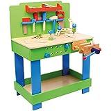 """Werkbank """"Frederico"""" aus Holz, mit allerlei Zubehör und Werkzeug, schult die Feinmotorik und fördert die Kreativität, ab 3 Jahren"""