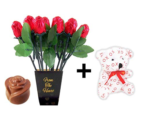 """Valentines Day Chocolate Roses Bundle with Small XO Teddy Bear - 12 Belgian Milk Chocolate Roses and 1 Love Teddy Bear (5 """") Perfect For Valentine"""