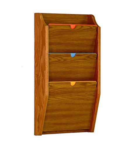 Wooden Mallet 3-Pocket Privacy Chart Holder, HIPAA Compliant, Letter Size, Medium Oak