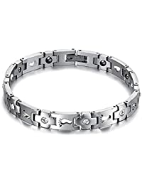 UM Jewelry His and Hers 316L Stainless Steel Crystal Footprints Magnetic Bracelet for Couples
