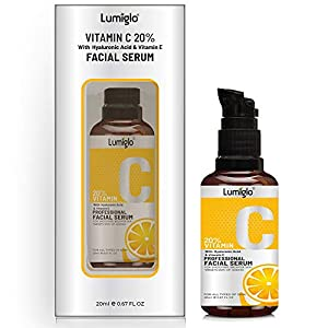 Lumiglo Vitamin C Serum With Hyaluronic Acid For Moisturizng | Skin Whitening | Collagen Booster | Wrinkle Reducer…