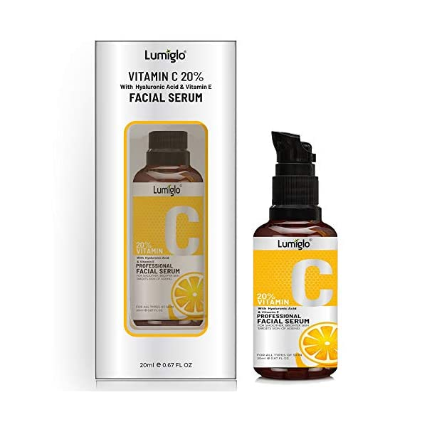 Lumiglo Vitamin C Serum With Hyaluronic Acid For Moisturizng   Skin Whitening   Collagen Booster   Wrinkle Reducer… 2021 August Vitamin C stimulates the production of collagen which makes your skin more vibrant, firm and youthful Enhances skins rate of exfoliation for a smoother, brighter and more radiant complexion Contains Antioxidants that will greatly reduce skin damage caused by the sun, pollution and impurities in the air